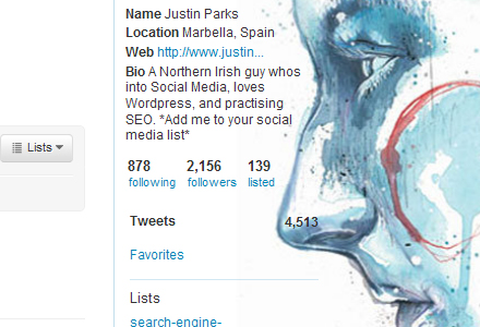 Make your Twitter profile sidebar transparent